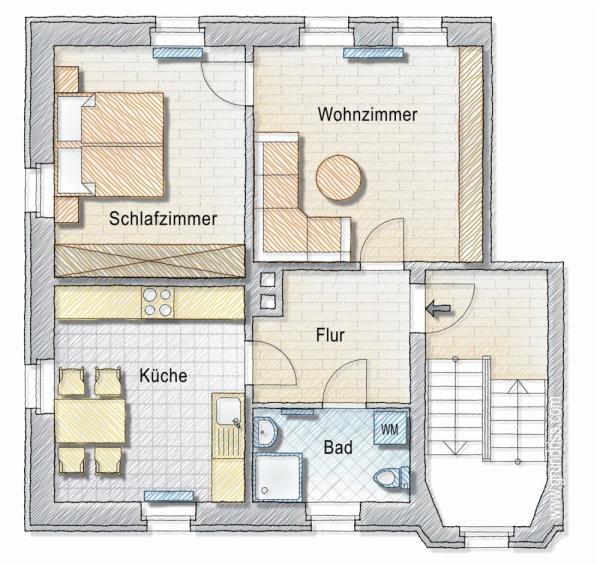 Skizze Grundriss + sep. Zimmer im Dachgeschoss