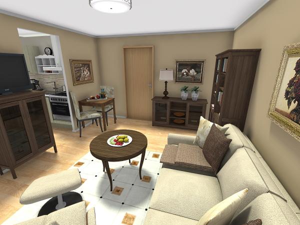 Wohnzimmer Blick zur Küche / Flur